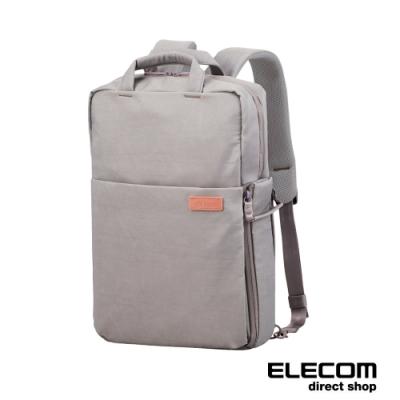 ELECOM 帆布3WAY薄型後背包(迷霧限定色)-L-玫瑰灰
