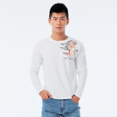 BIG TRAIN 牡丹鯉魚圓領長袖T-男-牙白