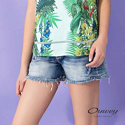 OUWEY歐薇 抽鬚造型蝴蝶刺繡棉質牛仔短褲(藍)