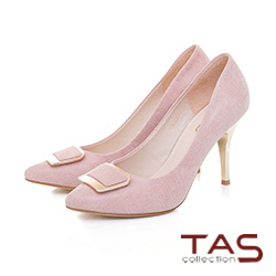 TAS方形金屬扣飾羊絨皮高跟鞋-裸膚粉
