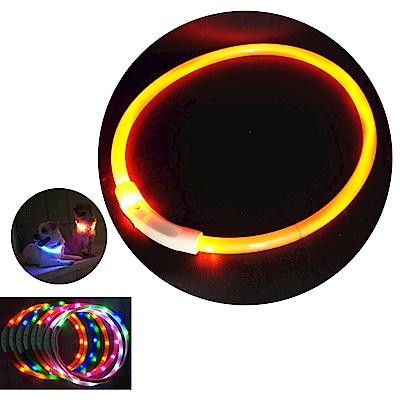 摩達客 LED寵物發光項圈(USB充電式 / 圓周70CM長/橘色光纖款)