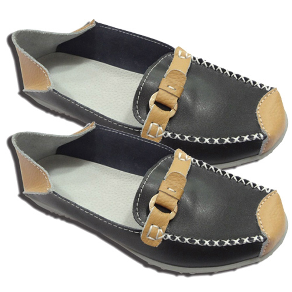 KEITH-WILL時尚鞋館 (現貨+預購) 撞色配帶兩穿真皮鞋-黑