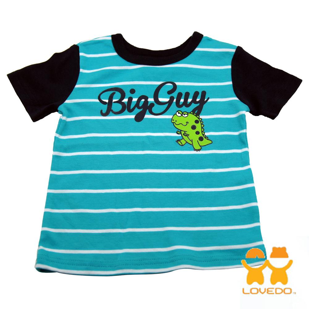 【LOVEDO-艾唯多童裝】兇猛暴龍 拼色條紋短袖T恤 (藍)