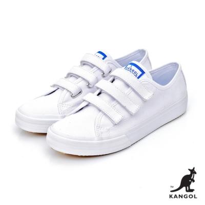 【KANGOL】魔鬼氈厚底帆布鞋-女-白
