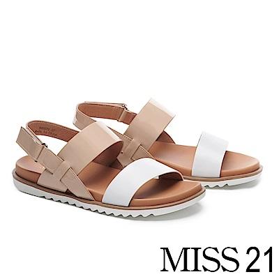 涼鞋 MISS 21 摩登質感拼接牛皮厚底涼鞋-白