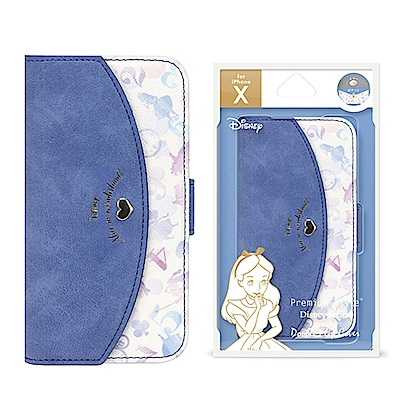 iPhone XS/X 5.8吋 迪士尼 心型 雙層/插卡/ 翻蓋式 皮套 -愛麗絲