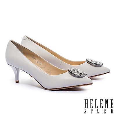 高跟鞋 HELENE SPARK 優雅時尚璀璨白鑽圓形飾釦羊皮尖頭高跟鞋-米