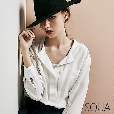 SQUA V領七分袖棉麻上衣 -二色
