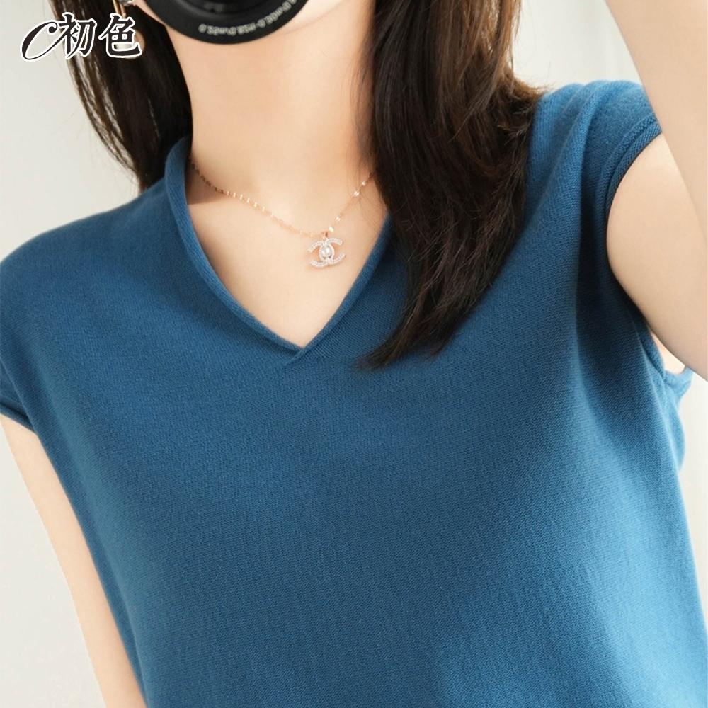 初色  V領純色針織衫-共9色-(M-2XL可選)