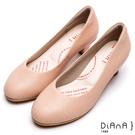 DIANA漫步雲端輕盈美人款--素雅蜥蜴壓紋質感真皮跟鞋-卡其