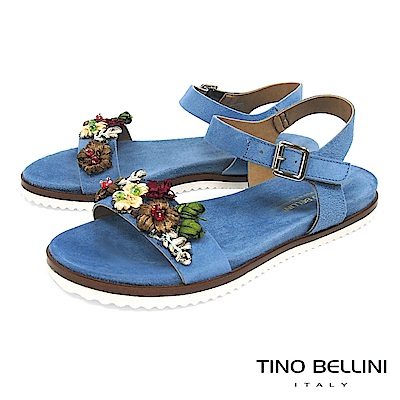 Tino Bellini 義大利進口繽紛花叢麂皮平底涼鞋 _ 藍