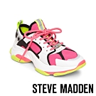 STEVE-MADDEN-GRADUALLY 異材質撞色拼接厚底老爹鞋-桃螢光黃拼接