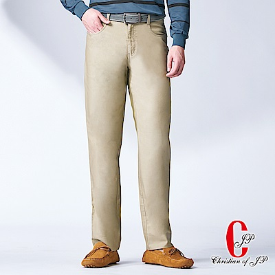 Christian-超彈力率性牛仔款休閒長褲-卡其