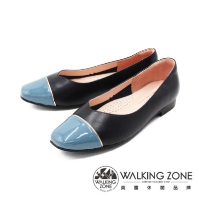 WALKING ZONE (女)方頭拼色娃娃鞋 包鞋 女鞋 -黑藍(另有黑粉)