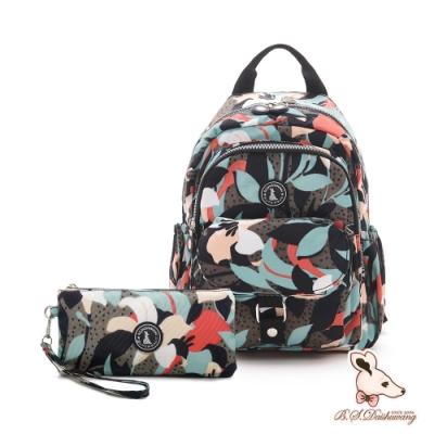 B.S.D.S冰山袋鼠 - 楓糖瑪芝 - 輕旅單肩後背兩用包+零錢包2件組 - 熱帶雨林