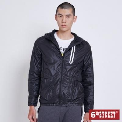 5th STREET 抗UV連帽拉鍊外套-男-黑色