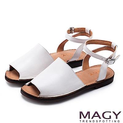 MAGY 夏日時尚 簡約寬版皮革一字繞帶平底涼鞋-白色