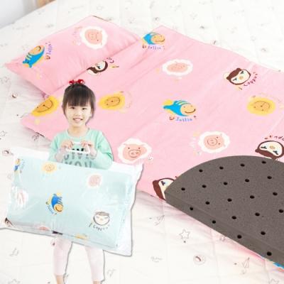 奶油獅-同樂會系列-可黏式收納100%純棉安親午睡記憶睡墊(含枕)-櫻花粉