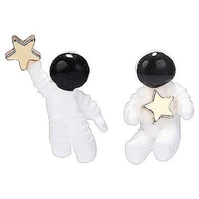 梨花HaNA 無耳洞韓國可愛外太空人星球耳環夾式