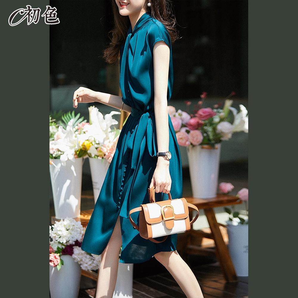 初色  繫帶收腰優雅洋裝-深藍色-(M-2XL可選)