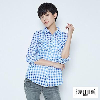 SOMETHING 休閒隨性格紋襯衫-女-藍色