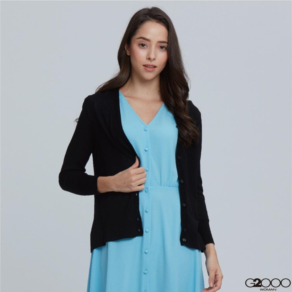 G2000素面七分袖針織外套-黑色