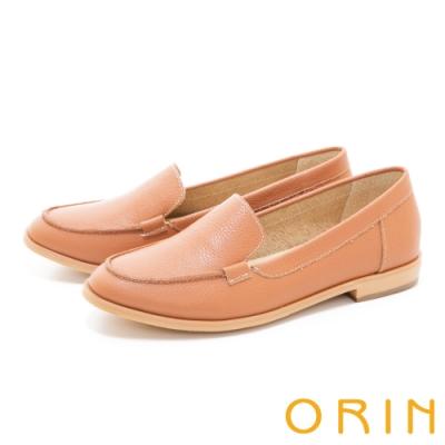ORIN 荔枝紋真皮素面樂福 女 平底鞋 棕色