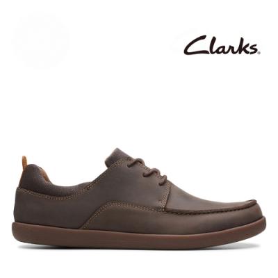 Clarks UN 船型輕便綁帶耐磨休閒鞋 咖非色