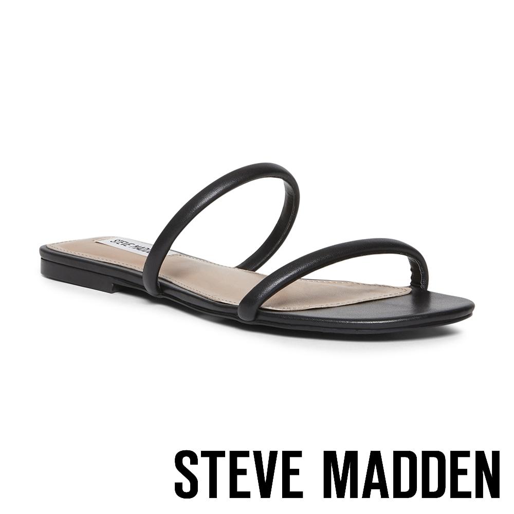 STEVE MADDEN-BRAYDEN 極簡風格雙細帶平底拖鞋-黑色