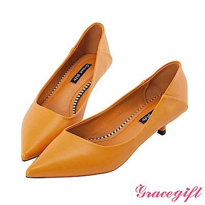 Grace gift-尖頭斜口設計感跟鞋 黃