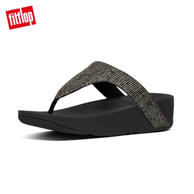 【FitFlop】LOTTIE GLITTER-STRIPE TOE-THONGS夾腳涼鞋-女(靚黑色)