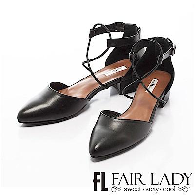 Fair Lady 有一種喜歡是早秋-性感繫繩尖頭粗跟鞋 黑