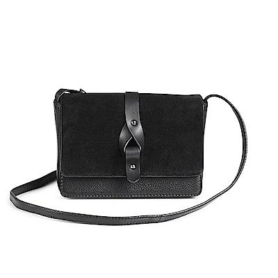 MARKBERG Lexa 丹麥手工牛皮緞珠方包 斜背/肩揹包(個性絨黑)