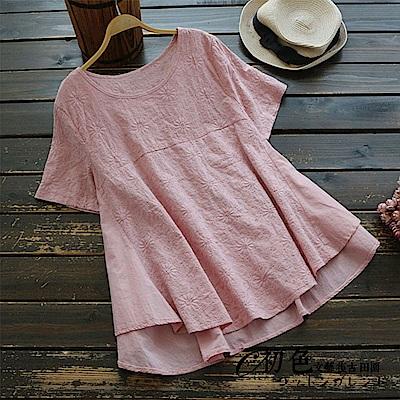純色刺繡拼接短袖上衣-共3色(F可選)    初色 田園
