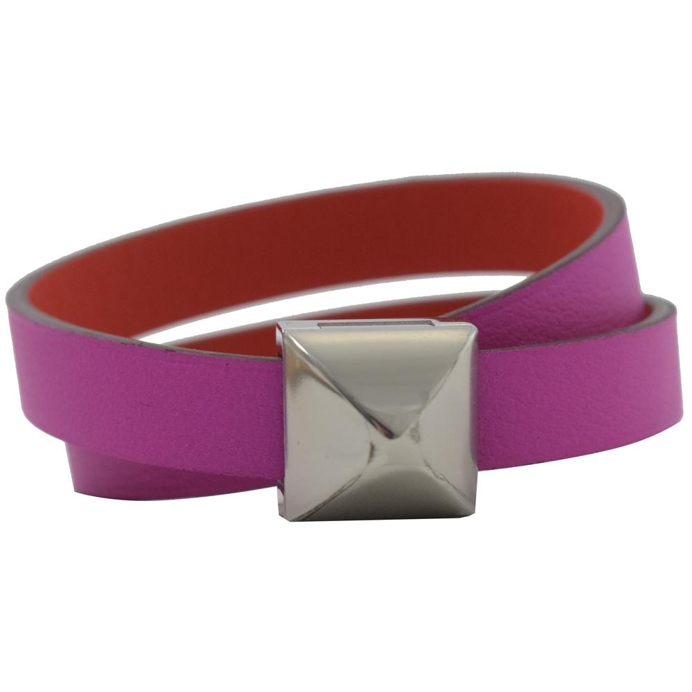 HERMES HERMES MEDOR INFINI 皮革雙圈雙面手環(銀/紫紅)