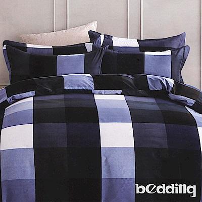 BEDDING-活性印染5尺雙人薄床包涼被組-極夜藍格