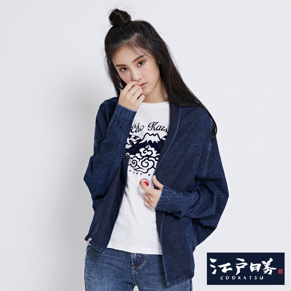 EDWIN EDOKATSU江戶勝 INDIGO日式2穿罩杉-女-酵洗藍