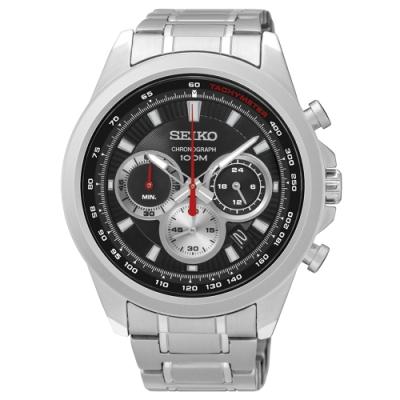 SEIKO精工   極地追光者三眼石英腕錶(SSB241P1)-黑面x45mm