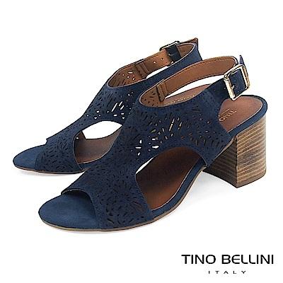Tino Bellini 義大利進口花火沖孔雙側鏤空高跟涼鞋_ 藍