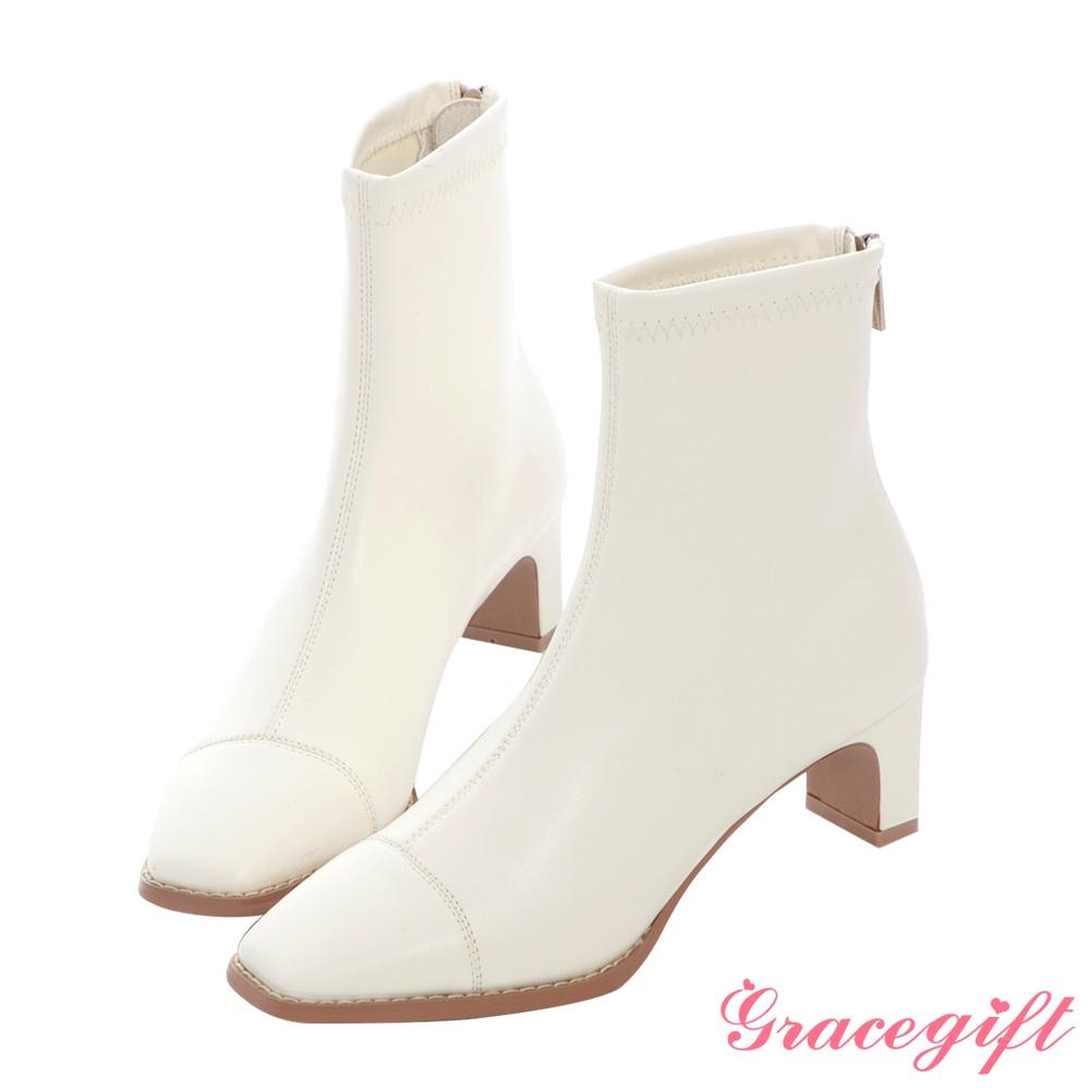 Grace gift X MEG-聯名方頭沿條高跟短靴 白