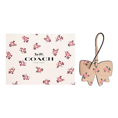 COACH 碎花蝴蝶結皮革吊飾/鑰匙圈(禮盒組)(駝)