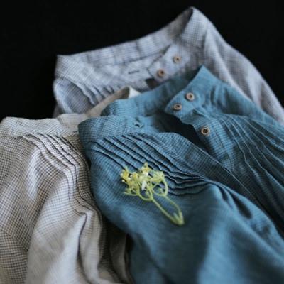 亞麻格子襯衫寬鬆長袖洋氣上衣-設計所在