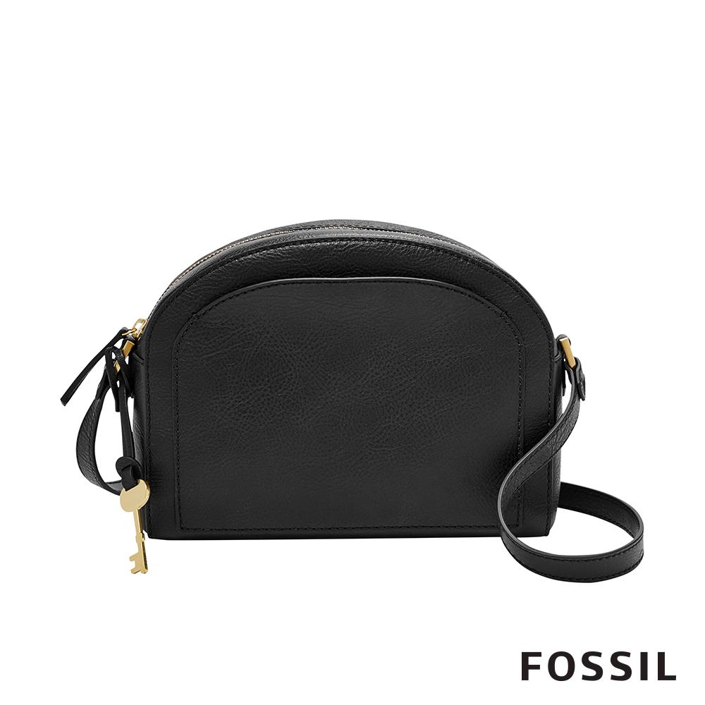 FOSSIL CHELSEA 真皮極簡風斜背饅頭包-黑色 ZB7633001