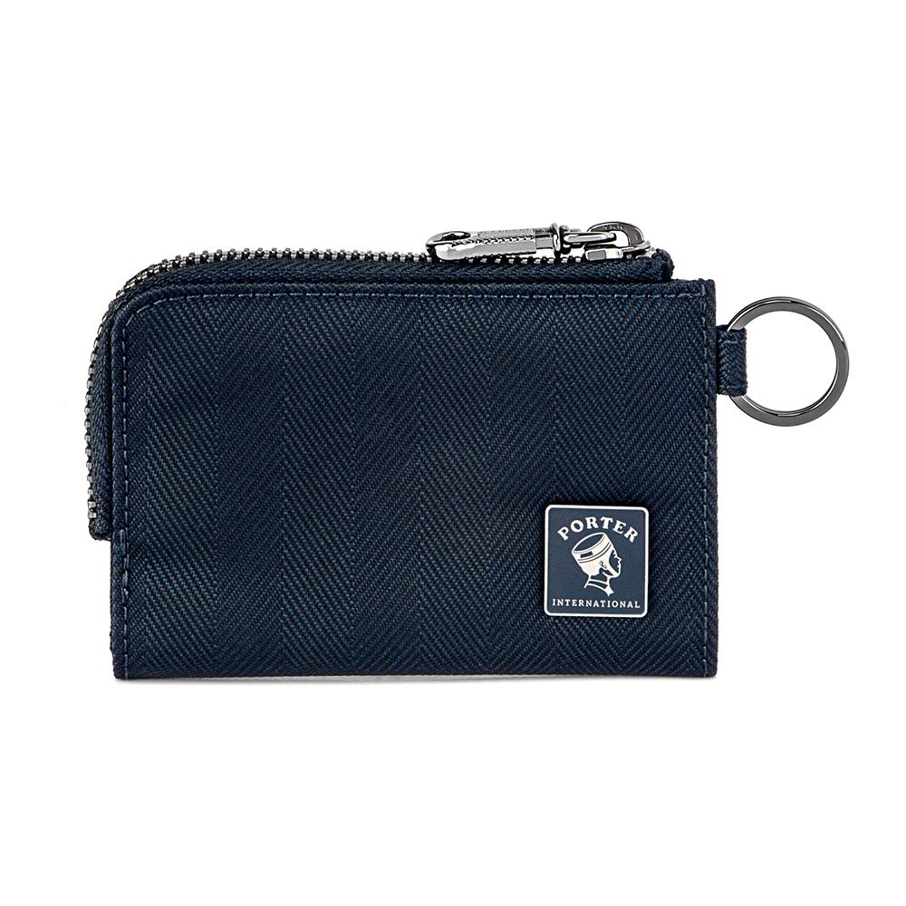 PORTER - 樂音狂想MELODY復古L型卡片零錢包 - 深藍