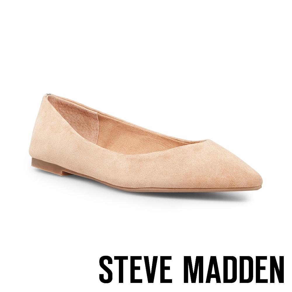 STEVE MADDEN-ADLEY 後跟拼接蛇皮尖頭平底鞋-卡其棕