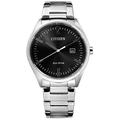 CITIZEN 星辰表 光動能日期礦石強化玻璃日本機芯不鏽鋼手錶-黑色/41mm
