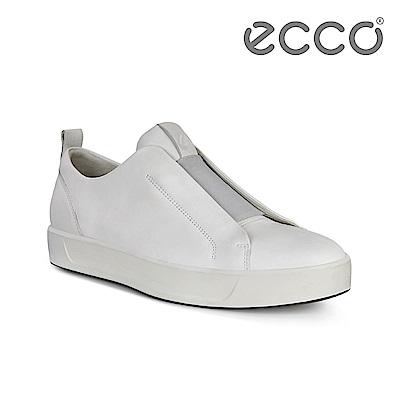 ECCO ECCO SOFT 8 M 時尚單色套入式休閒鞋 男-白