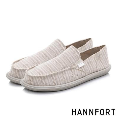 HANNFORT COZY可機洗平織布後踩氣墊鞋-男-條紋米(8H)