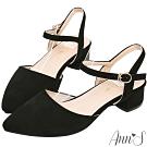 Ann'S砰然約會-夢幻細絨繫帶側V顯瘦粗跟尖頭鞋-黑