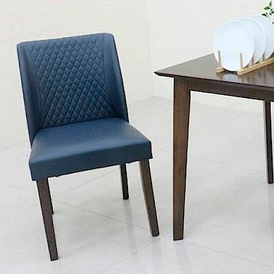 AS-爾達深藍皮胡桃餐椅.-48x60x82cm @ Y!購物